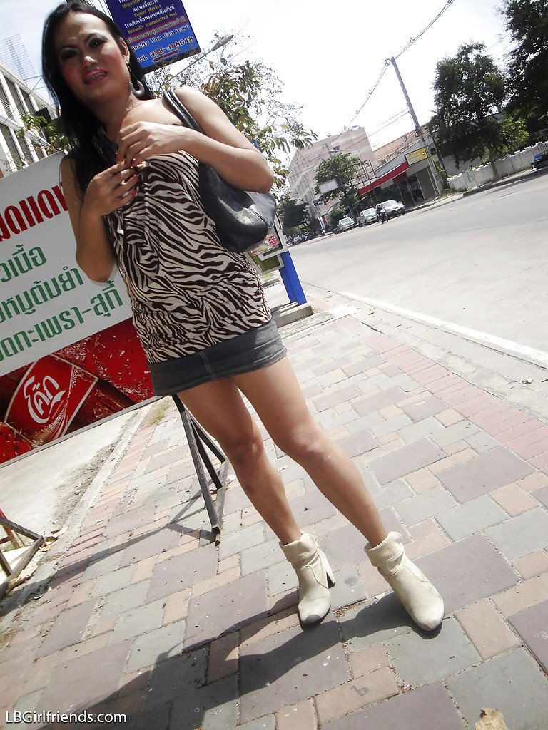 Nasty Thai T-Girl Aom Posing In Public Before Showing Off Her Hairy Dick
