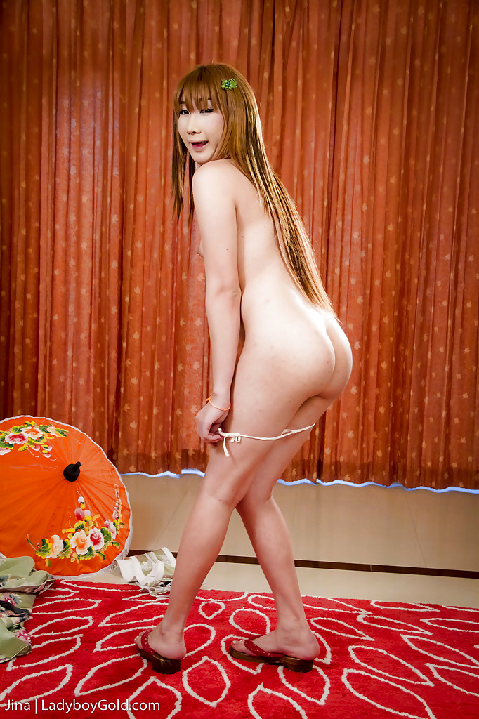 Nasty Thai T-Girl Jina Strips Off Panties To Reveal A Post Op Pussy