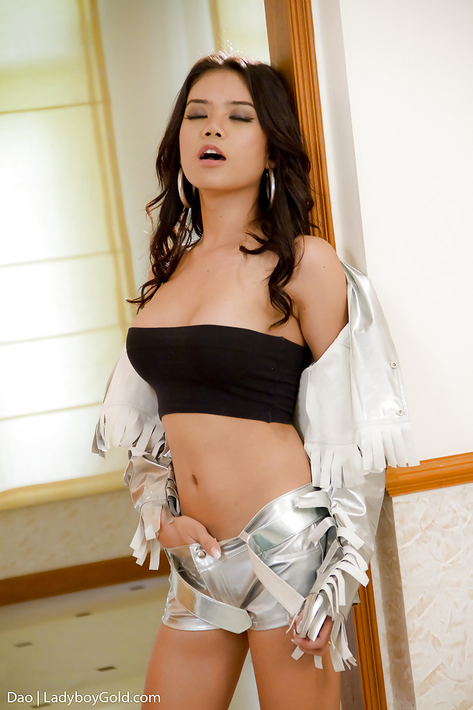 Nice Transexual Dao Is A Small Tgirl With A Sweet Shaved T-Girl Dick