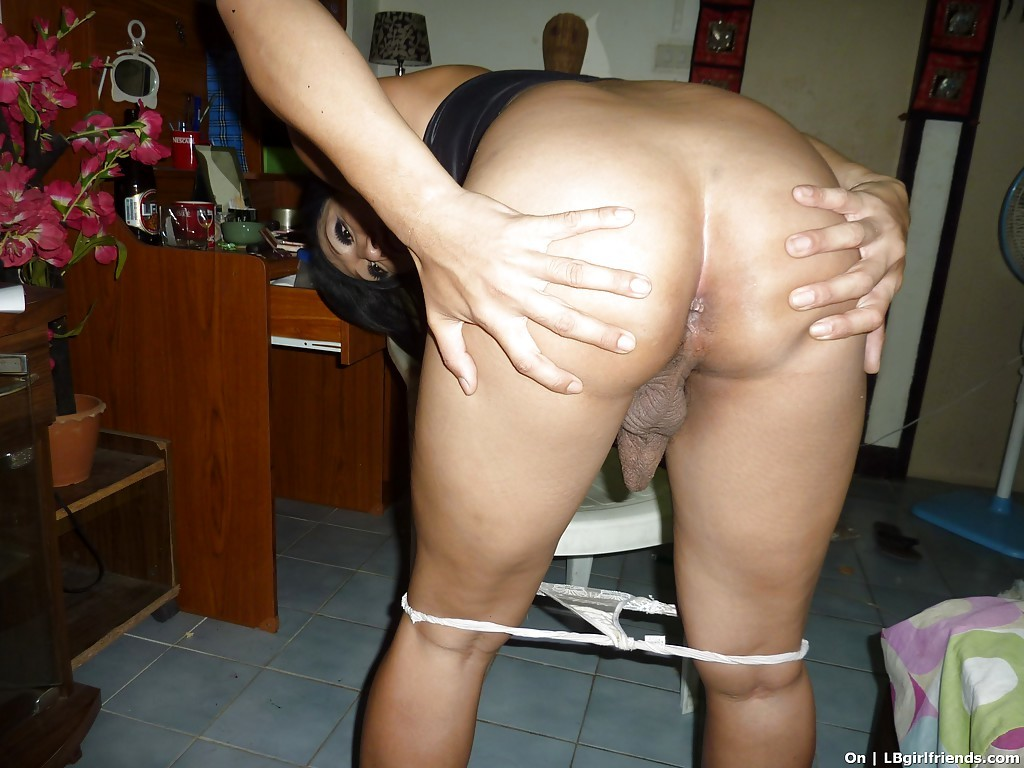Perfect Thai T-Girl Posing Solo With Hairy Shedick In Her Hand