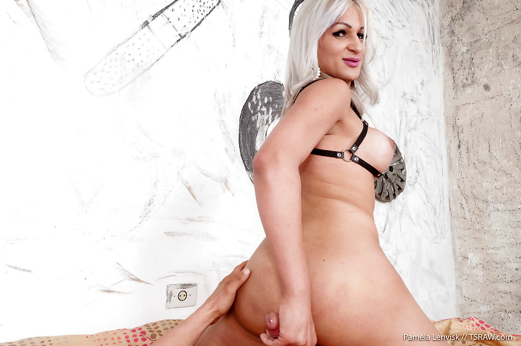 Platinum Blonde Transexual On Male Hardcore Bare Back Anal Sex By Pamela Lenvisk