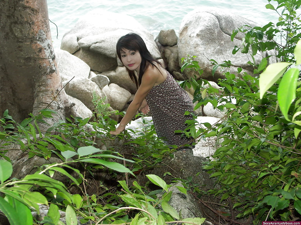 Playful Thai Transexual Teen Flashing Her Tool In A Magical Forest