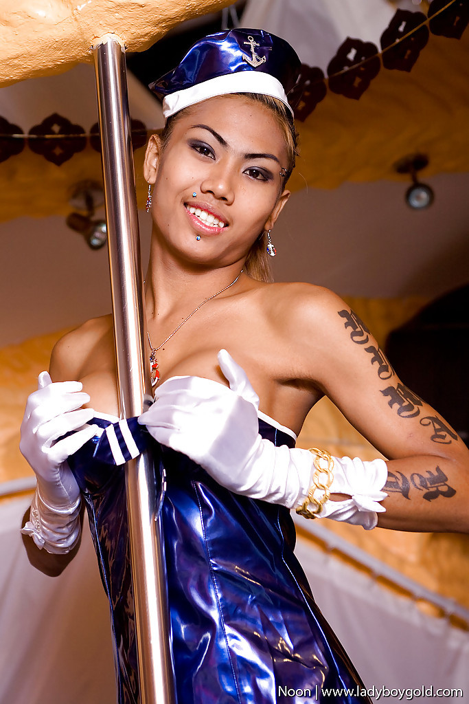 Provoking Asian T-Girl Noon Working The Stripper Pole In Arousing Uniform