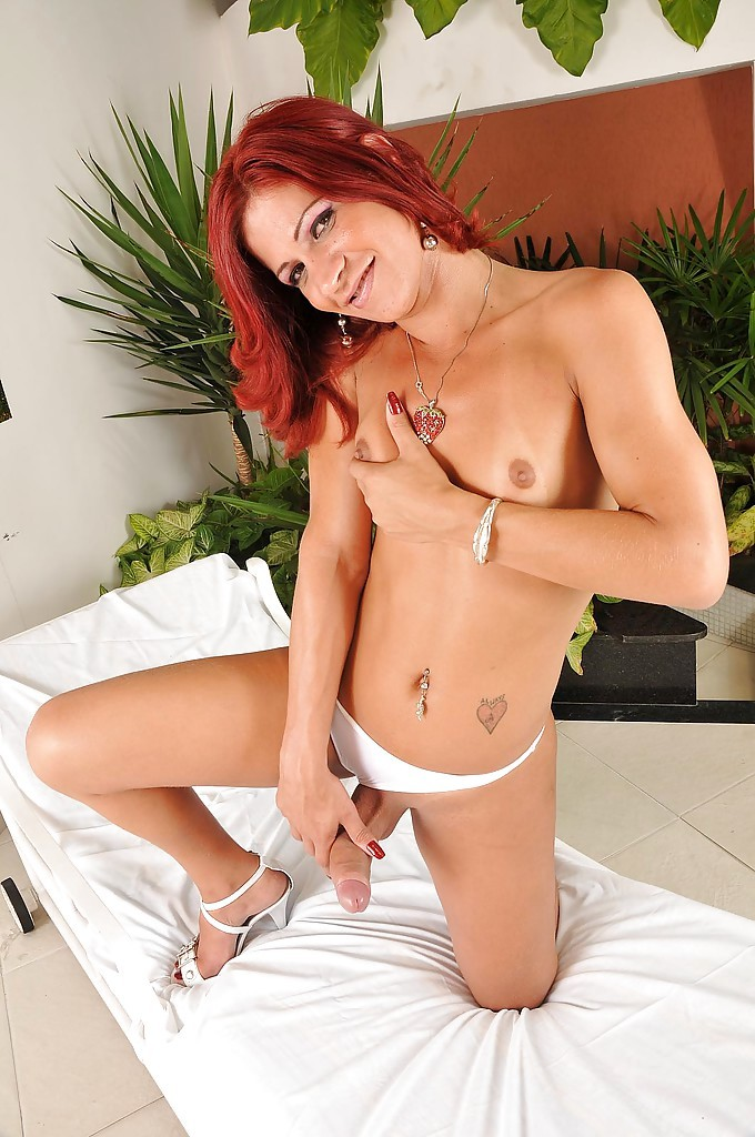 Redhead Latina TGirl Paolo Felix Wanking Massive Penis And Taking Anal From Dude