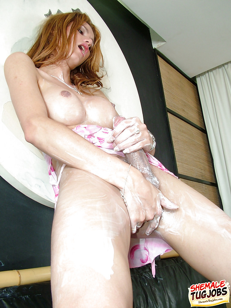 Redheaded Solo Transexual Sabrina De Paula Lubing Enormous Boobs And Shecock