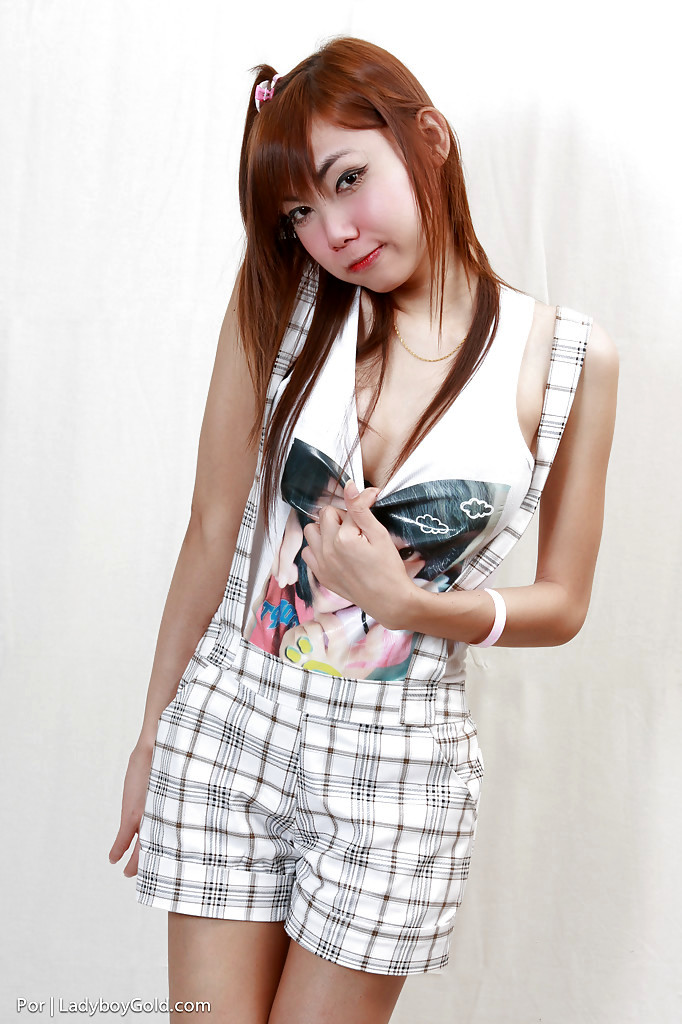 Redheaded Thai Solo T-Girl Por Exposing Massive Dick For Masturbation Session