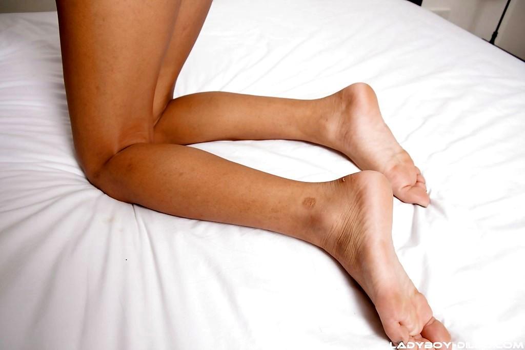 Seductive Brunette Thai Femboy Fon Dildoing Her Tight Shaved Ass-Hole