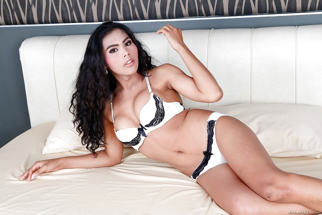 Sensual Latina TGirl Kate K Exposing Huge Boobs And Uncut She Dick