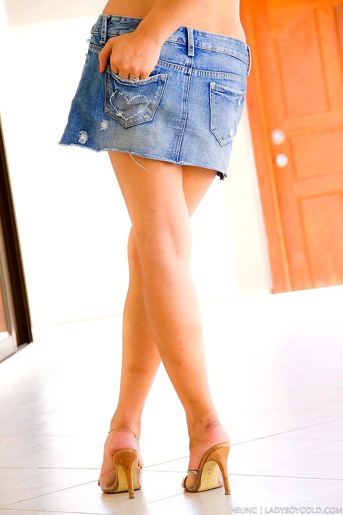 Sexy T-Girl Nueng Is The Cutest Thai TGirl In Denim Skirt And Bikini