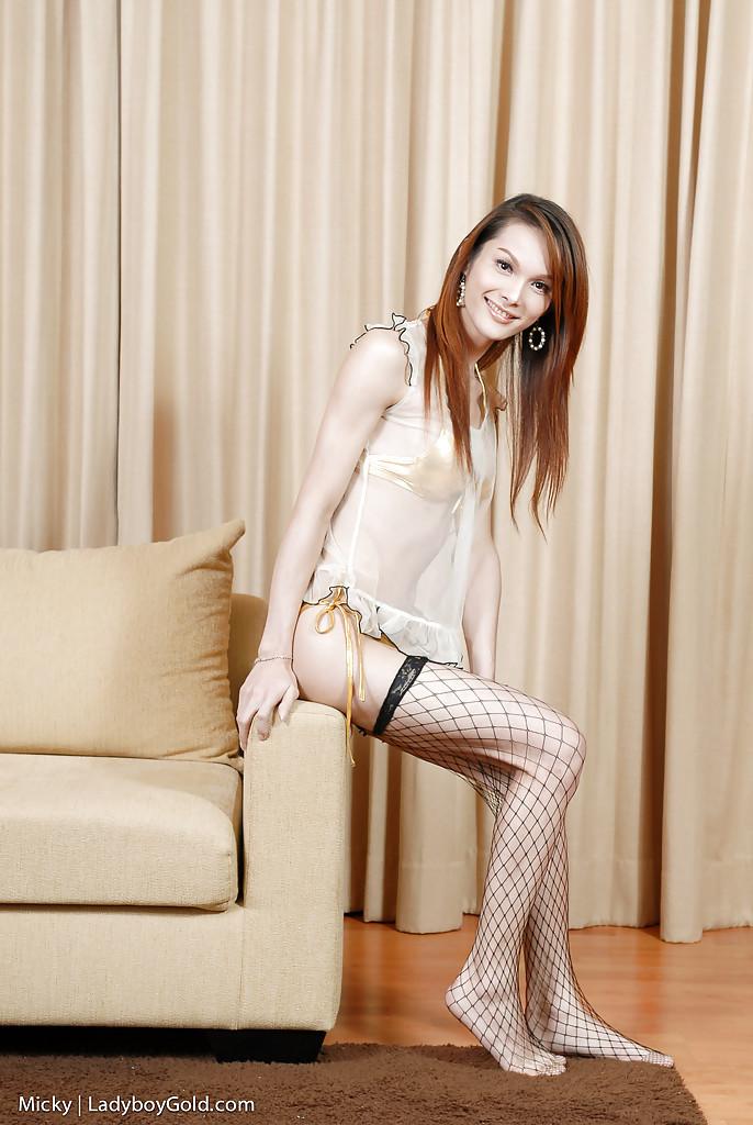 Slender Thai T-Girl Micky Masturbating Her Stiff Rod In Fishnet Stockings