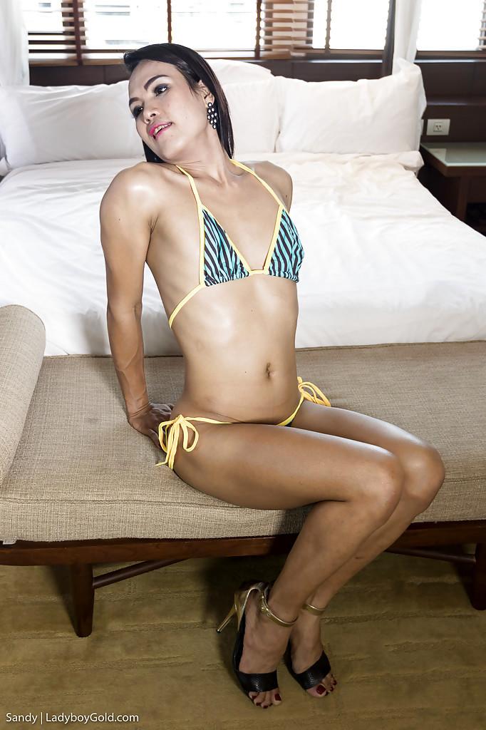 Slender Thai Tgirl Sandy Spreading Butt For BB Anal Sex With Massive Dick