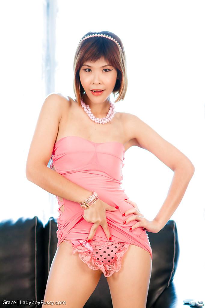 Slim Brunette Asian TGirl Grace Pleasuring Her Nasty Pussy In Heels