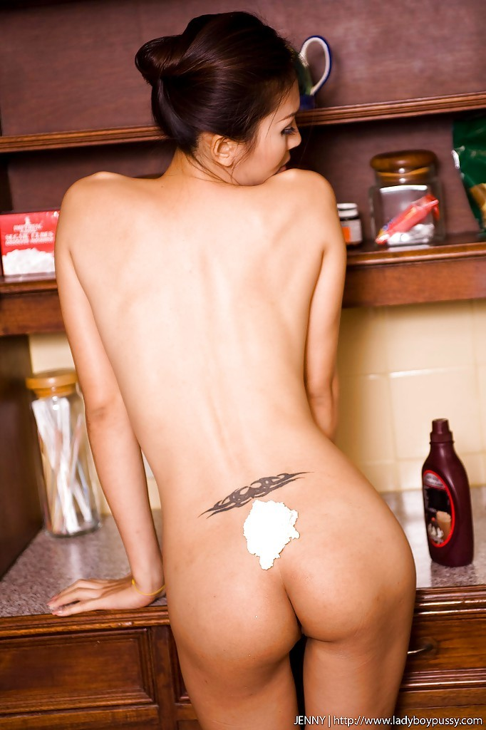 Slim Thai Femboy Jenny Banging Her Pussy On The Kitchen Counter
