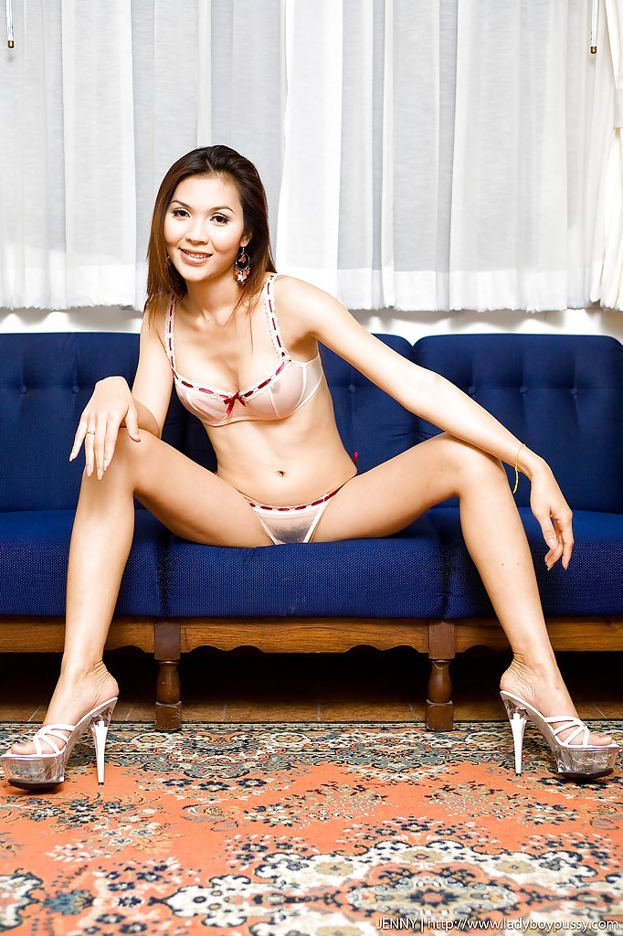 Slim Thai Ladyboy Jenny Toying Her Hungry Pussy In High Heels