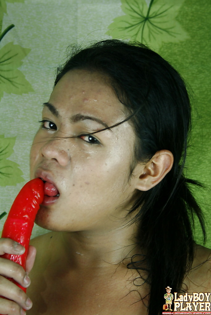 Solo Asian TGirl Danica Exposing Flat Chest During Masturbation Session
