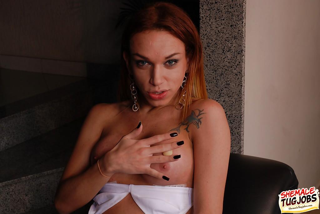 Solo Latina TGirl Carol Vendramini Models In Stockings Before Wanking