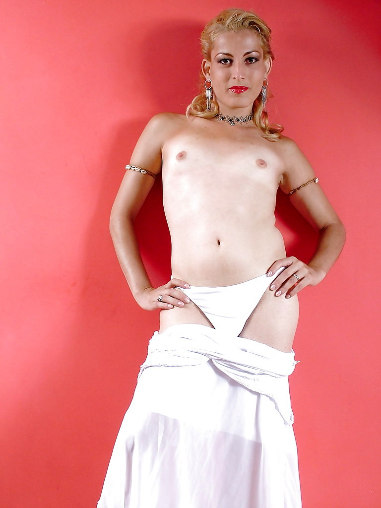 Solo TGirl Halyna Corazza Baring Tinie Breasts And Huge Hairy Tool