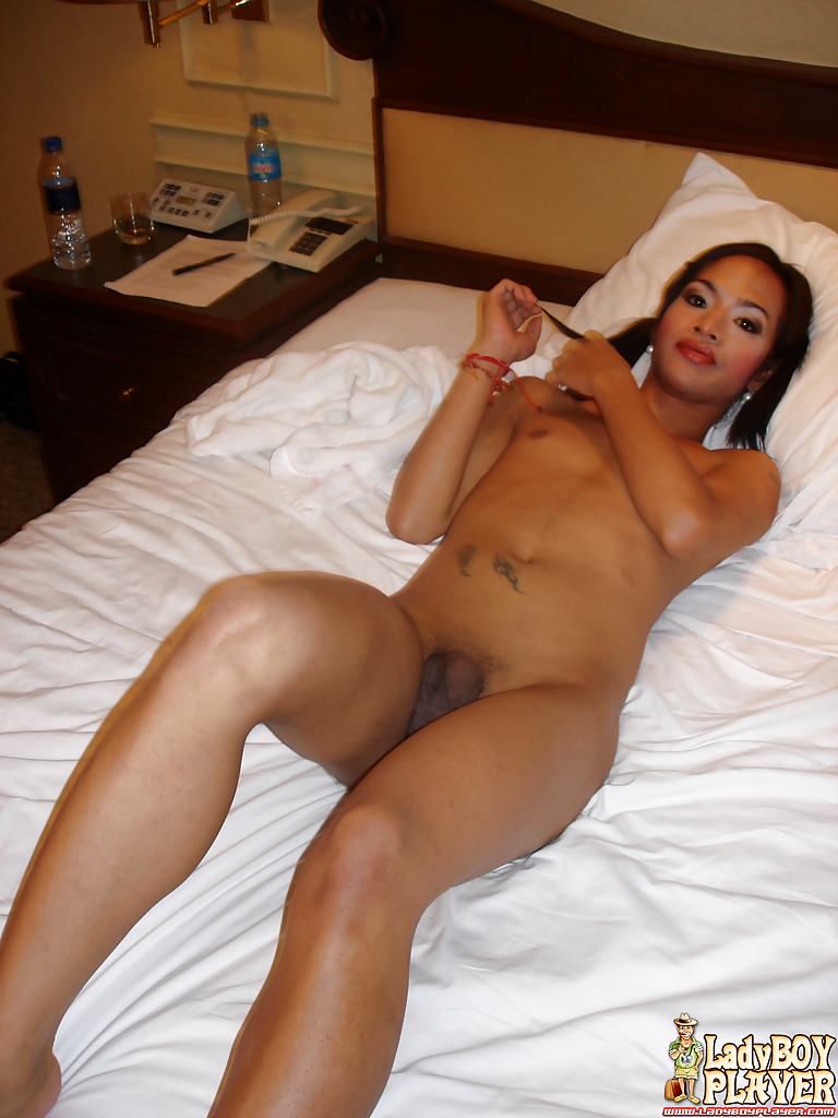 Solo Thai T-Girl Anita Showing Off Tattoos And Juicy Shecock In Pigtails