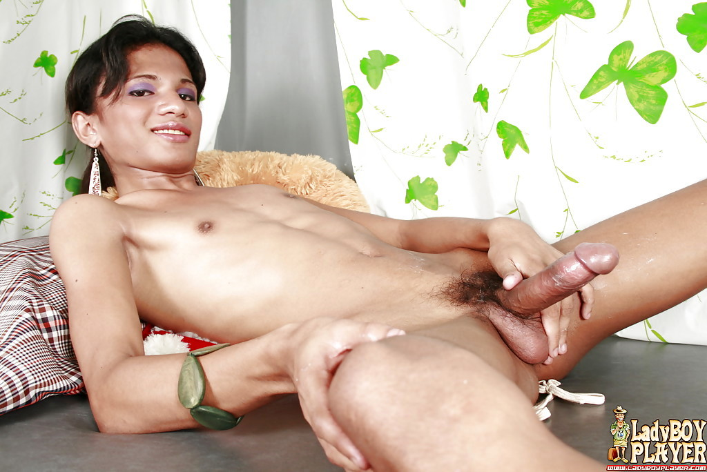 Solo Thai TGirl Kim Exposing Flat Chest Before Jacking Off Hairy Cock
