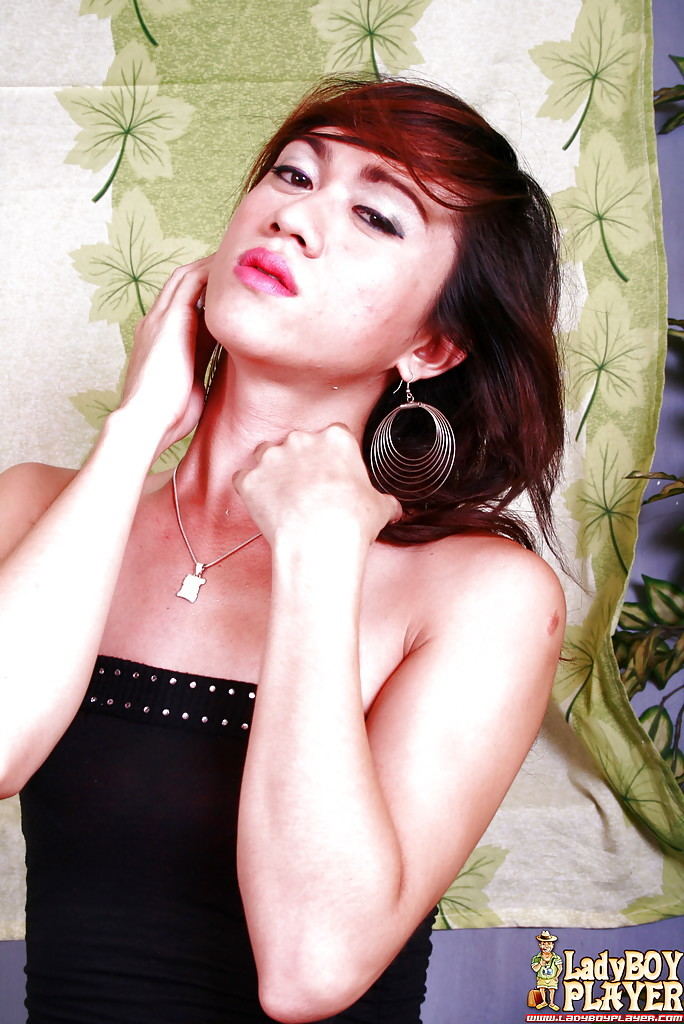 Solo Thai TGirl Tracy Baring Little Breasts While Wanking Meaty Tool