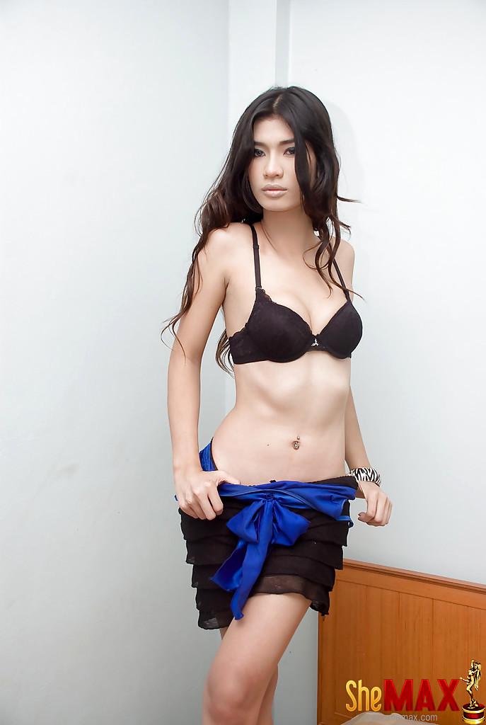Solo Thai Tranny Ae Removing Skirt And Panties To Masturbate Huge Penis