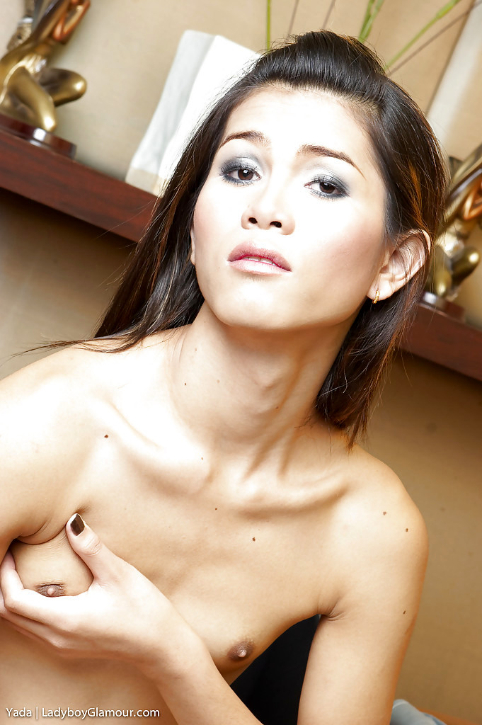 Sweet Asian TGirl Yada Shows Us Off Tiny Boobs While Masturbating Off Penis