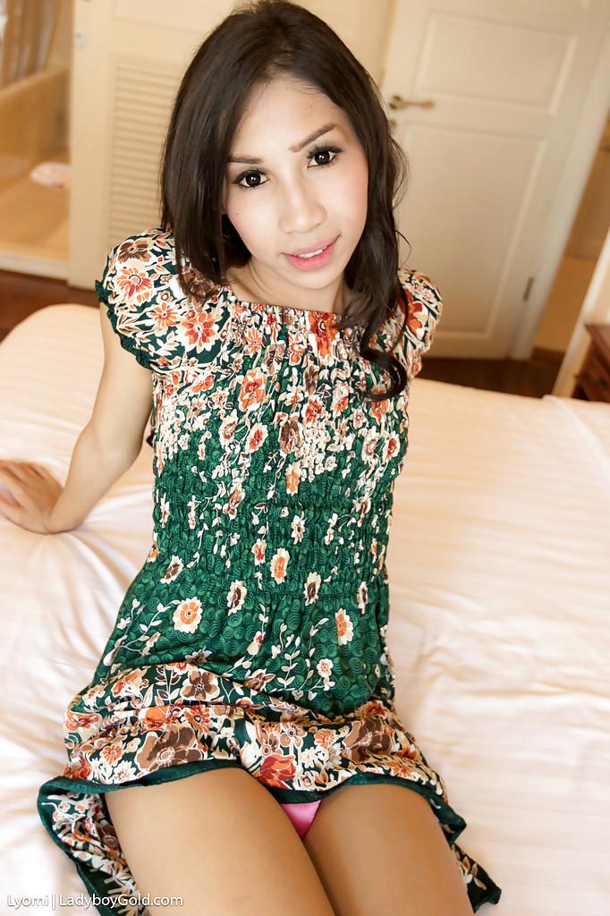 Sweet Brunette TGirl Lyomi Flashing Petite Breasts And Anal Gape