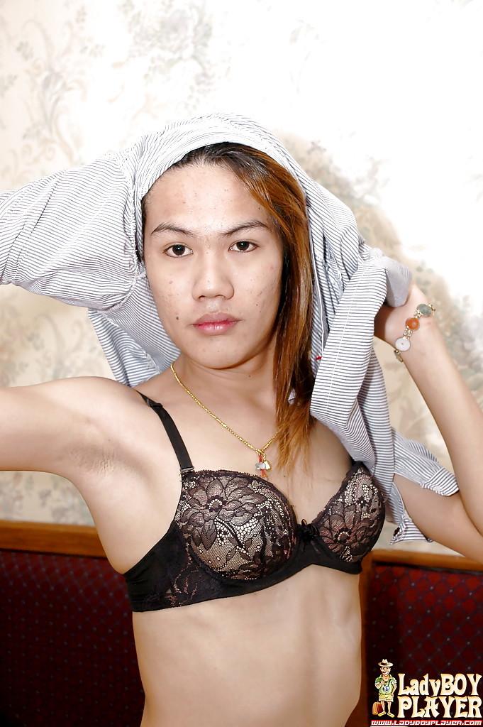 Thai Ladyboy Som Removes Bra Before Spreading To Masturbate Hairy Shecock