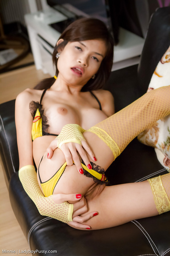 Thin Teen Asian T-Girl Masturbates In Her New Yellow Lingerie