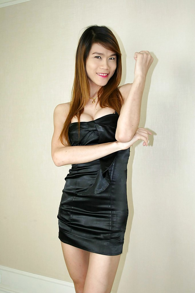 Thin Thai Femboy Sextoy Posing In A Dress And Showing Her Hairy Tool