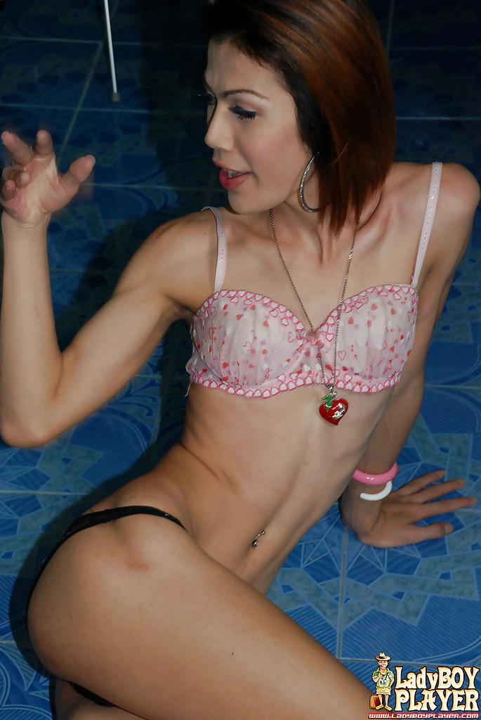 Thin Thai Ladyboy Cindy Masturbating Off Hairy Dick After Baring Petite Boobs