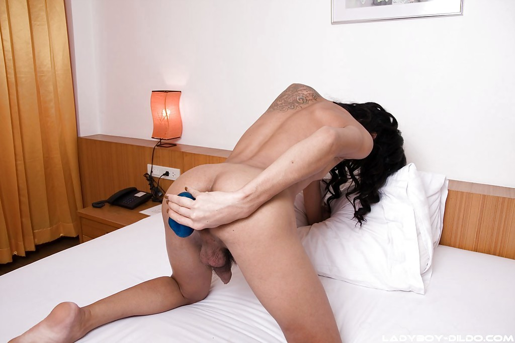 Tinie Brunette Thai T-Girl Shanna Using Her Enormous Blue Vibrator