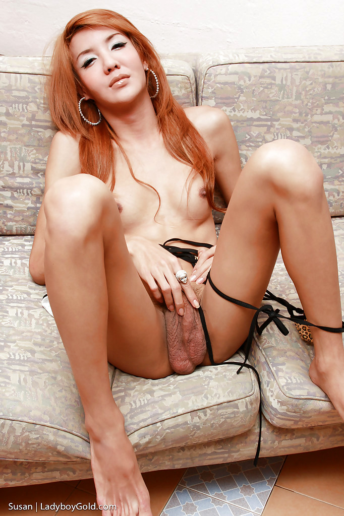 Tinie Redhead Thai Shemale Susan Masturbating Off Penis For Cumshot