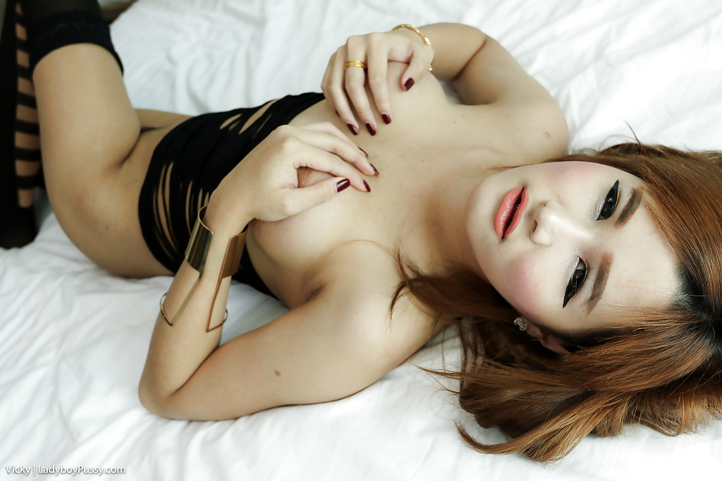 Tinie Thai Teen Vicky Exposing Trans Breasts And Post Op Shemale Pussy