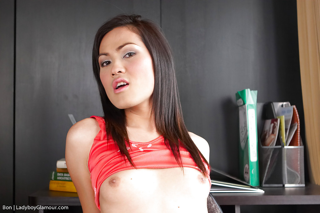Tinie Tit Thai T-Girl Bon Showing Off Her Petite Hairy Dick And Bum