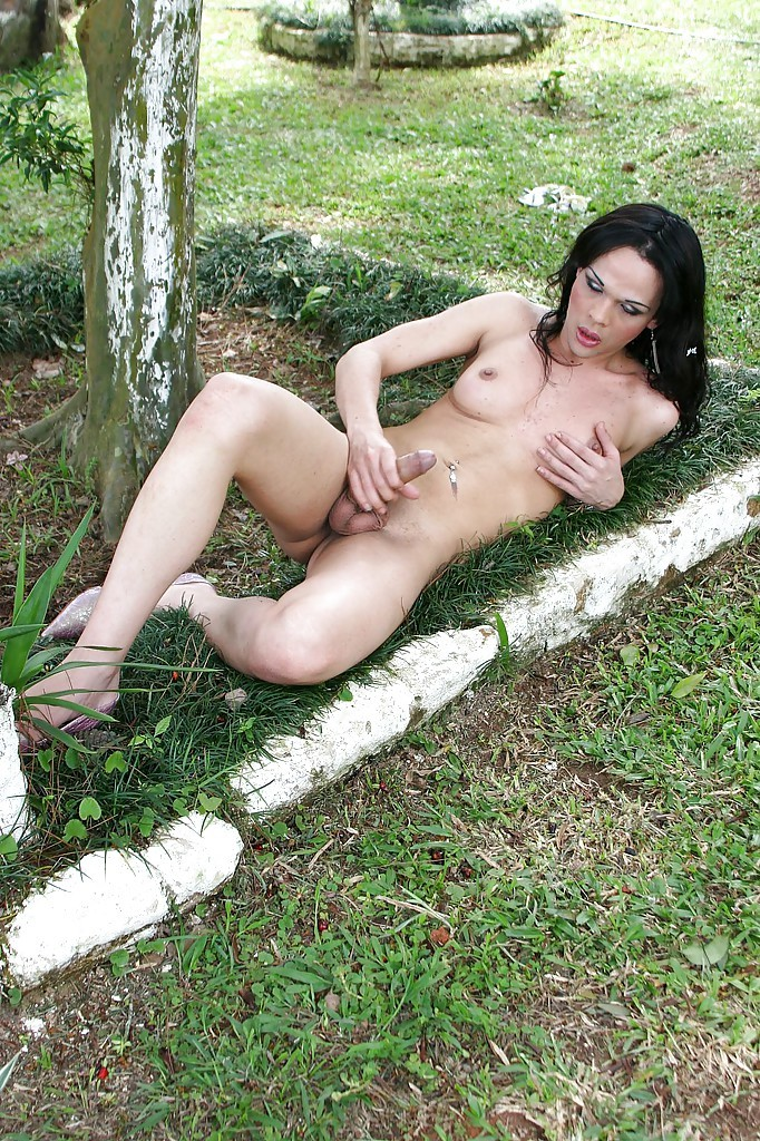Voluptuous Latina Ladyboy Tatiana Torres Posing In Fishnet Stockings And High Heels
