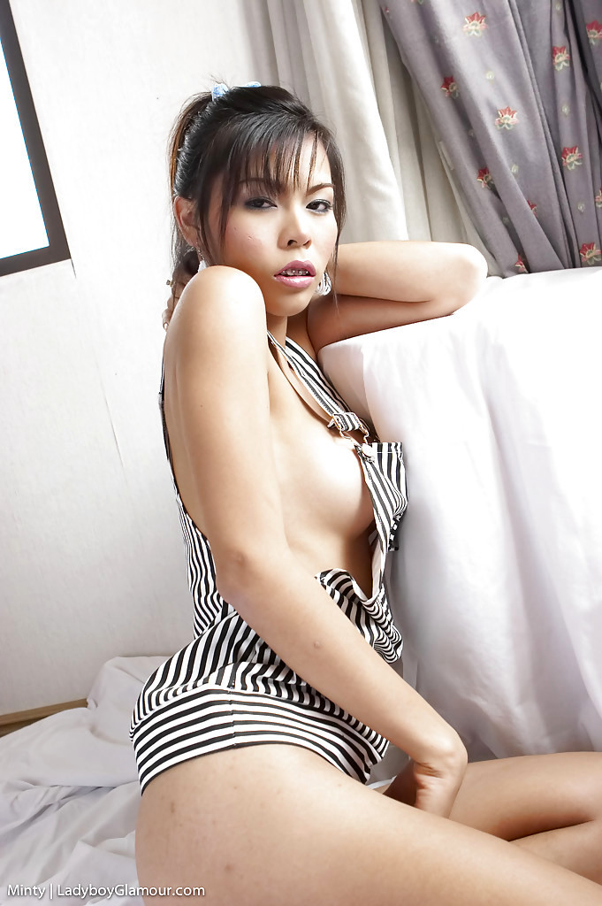 Young Asian Tranny Minty Playing With Massive Boobs While Jacking Off Cock
