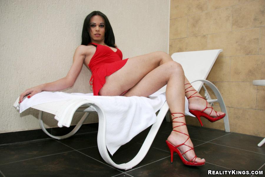Young Brunette Latina TGirl Sheron Enjoys Riding Cock Like A Cowgirl